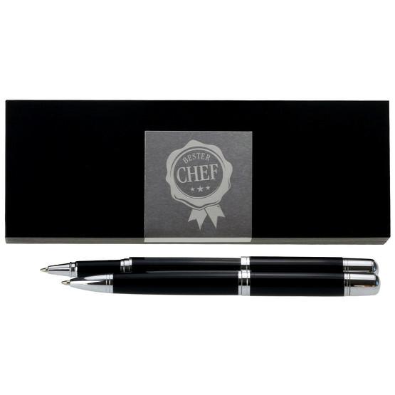 Bester Chef Schreibset mit Kugelschreiber Tintenroller und Etui