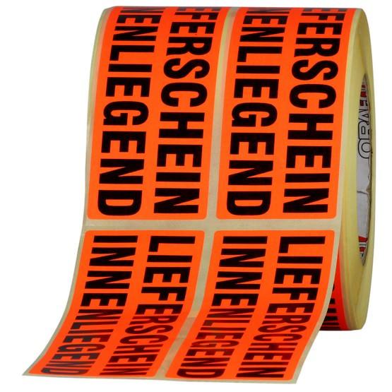 Etiketten Lieferschein innenliegend beiliegend Haftpapier 150x50 mm