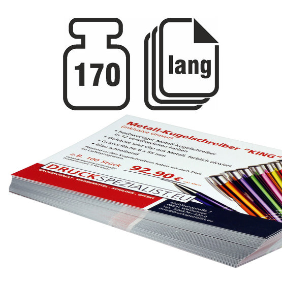 Flyer LANG 170g beidseitig 4/4 matt