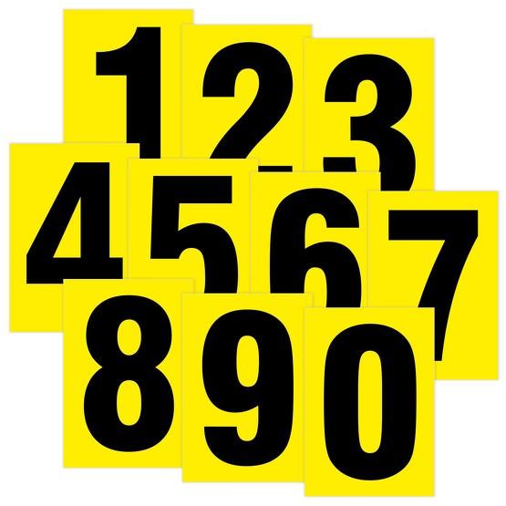 zahlen schwarz auf gelb aufkleber klebezahlen 80 mm hoch. Black Bedroom Furniture Sets. Home Design Ideas