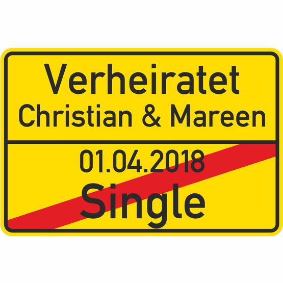Ortsschild Hochzeit personalisiert Heirat Schild als Geschenk