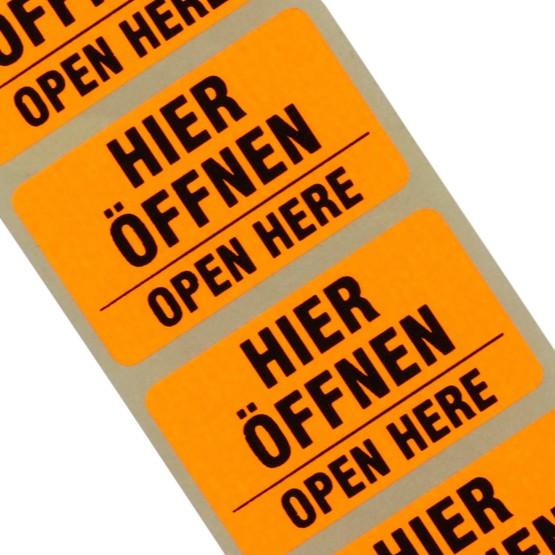 Etiketten Hier öffnen 2-sprachig Haftpapier 38 x 23 mm leuchtend orange