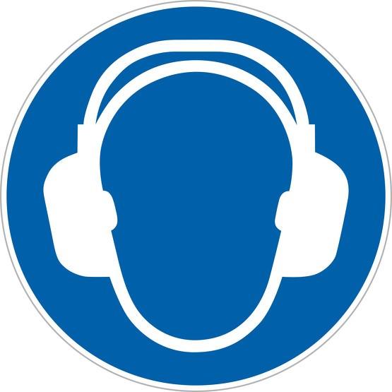Aufkleber Gehörschutz tragen M003