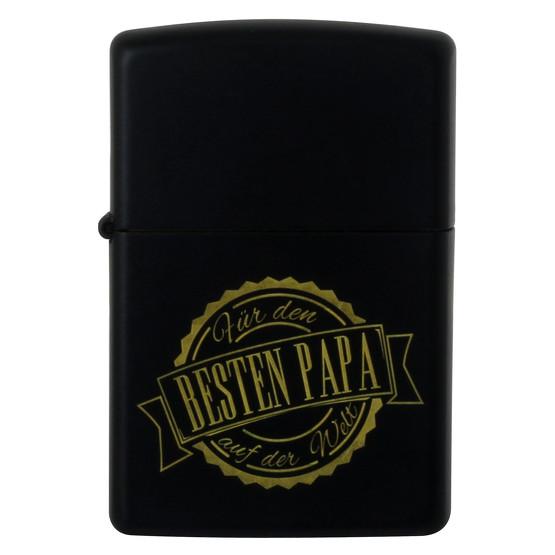 Zippo schwarz Bester Papa der Welt Black Matte Feuerzeug Benzinfeuerzeug