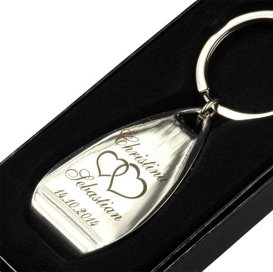 Schlüsselanhänger Metall mit Öffner mit Gravur Namen