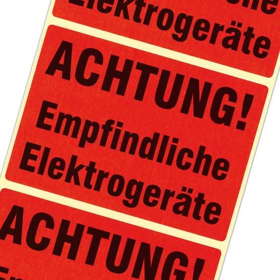 Etiketten Achtung empfindliche Elektrogeräte Haftpapier 105x75 mm rot