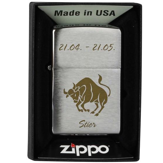 Zippo Feuerzeug mit Sternzeichen Lasergravur Gravur