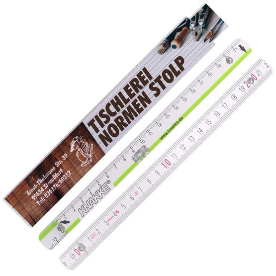 Zollstock KNAKKE Gliedermaßstab Meterstab aus Holz 2m mit Druck Fotodruck 4-farbig