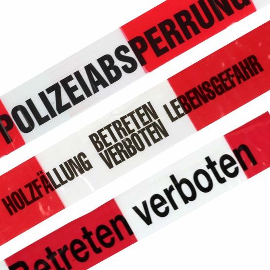 Absperrband Polizeiabsperrung, Holzfällung, Feuerwehr-Sperrzone Betreten verboten, Flatterband, Warnband rot-weiß 80 mm extrem reißfest 500m lang