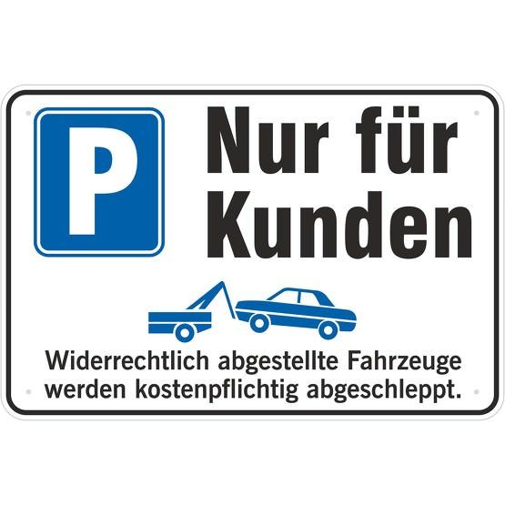 schild kundenparkplatz parkplatz nur f r kunden 3 mm alu. Black Bedroom Furniture Sets. Home Design Ideas