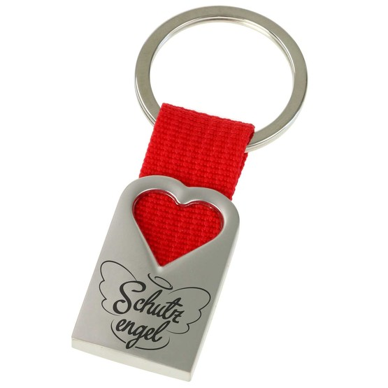 Schutzengel Schlüsselanhänger Herz aus Metall und rotem Polyester-Band