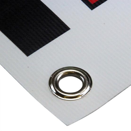 PVC Werbebanner 1x1 Meter mit Druck und Ösen, 4-farbig 510g