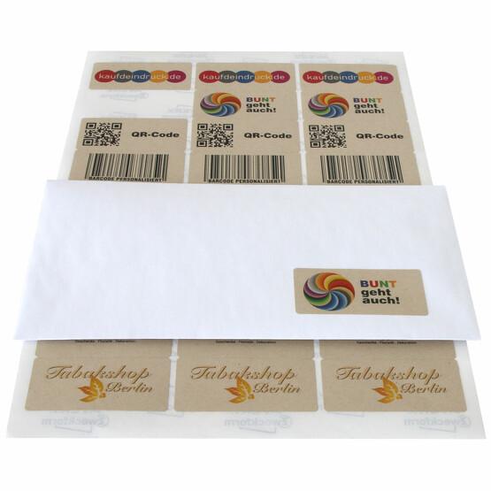 Etiketten braun mit Druck Logo farbig Adressetiketten Bogen 30x60mm