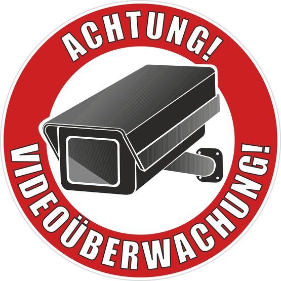 Aufkleber Achtung Video Videoüberwachung rund