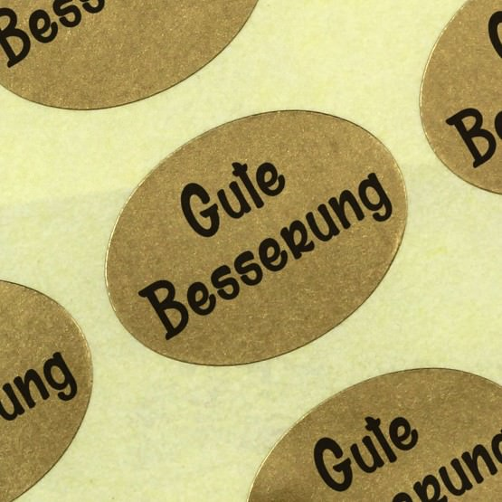 Etiketten Aufkleber Gute Besserung gold Blumen 25 x 18 mm Haftpapier