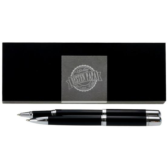 Bester Papa der Welt Schreibset Kugelschreiber Tintenroller und Etui