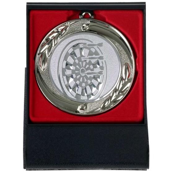Dart Medaille gold silber bronze oder im Set 70 mm mit Etui als Aufsteller