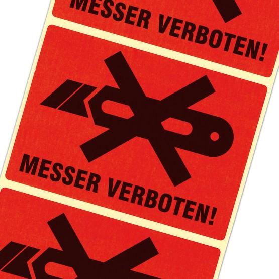 Etiketten Messer verboten nicht aufschneiden Haftpapier rot