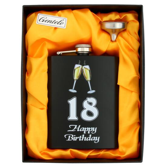 Flachmann Set Happy Birthday mit Druck in Box Geburtstag 18 40 50 60