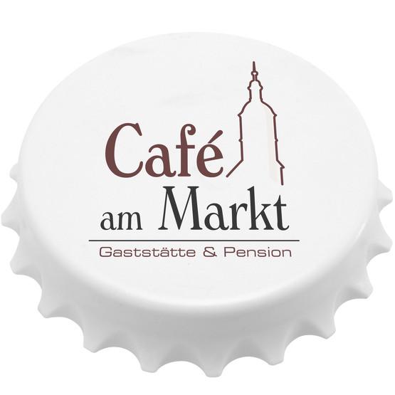 Flaschenöffner Kronkorken groß magentisch mit Logo Druck Fotodruck