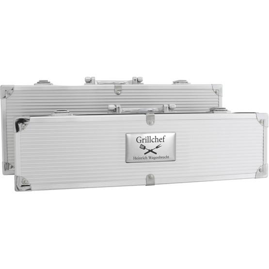 Grillkoffer BBQ Koffer Grillbesteck mit Gravur, 2 Koffergrößen lieferbar