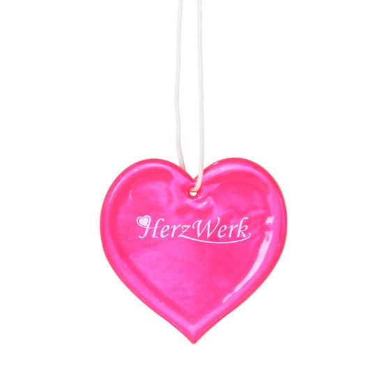 Herz Anhänger Reflektorherz mit Logo Druck Werbung Reflektor bedruckt