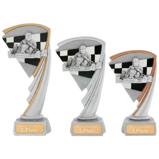 KART Pokal Serie ARRAS 3 Größen Hart PVC schwer mit Gravur