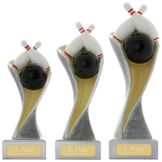 Bowling Kegeln Pokal Pokalset METZ mit Gravurplatte und Gravur