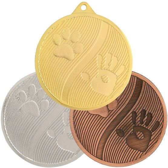 Medaille Hunde Hundepfoten gold silber bronze 50 mm Stahl