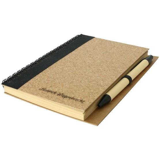 Notizbuch Notizblock PLUSCORK 18x13 cm mit Gravur Logo Aufdruck