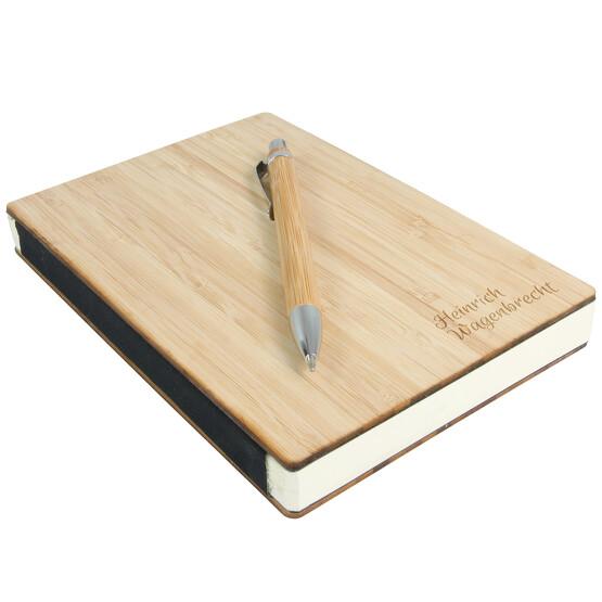 Notizbuch und Kugelschreiber Set ARIELLA Bambus Holzcover und Gravur