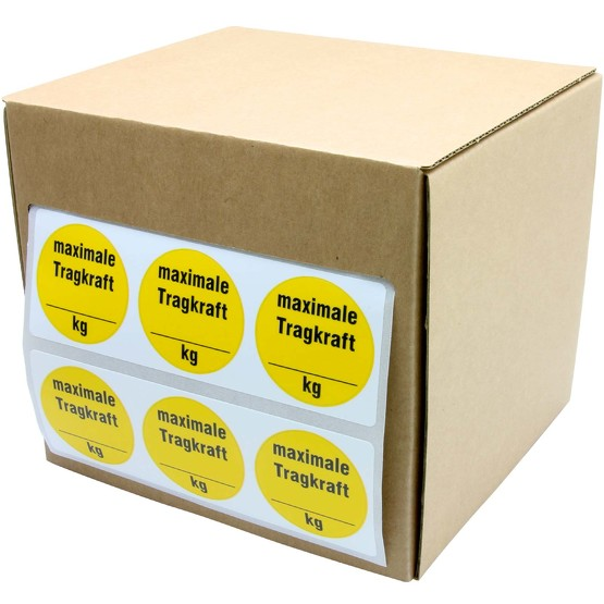 Plakette Tragkraft max kg Traglast Aufkleber 30 mm selbst beschriften