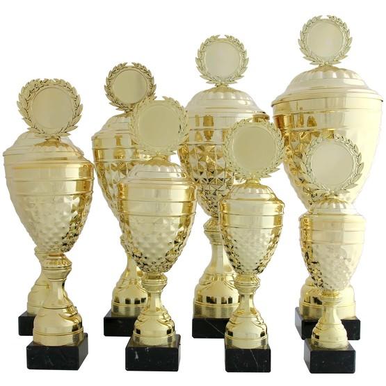 Pokal ALBI Pokalset Metall gold mit Deckel 8 Größen mit Gravur