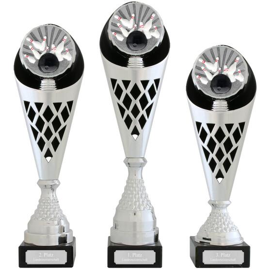 Pokal Bowling Serie VERDUN Trophäe silber groß mit Gravur