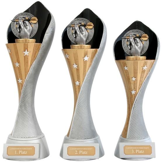 Pokal Dart Darts Serie AUXON Trophäe 3 Größen mit Gravur