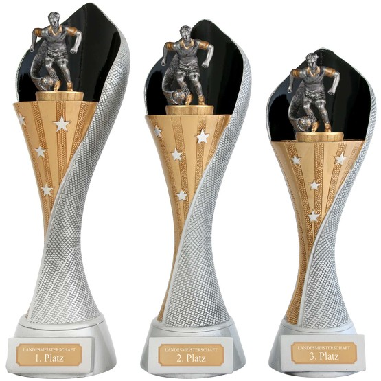 Pokal Fussball Serie AUXON Trophäe Fußball 3 Größen mit Gravur