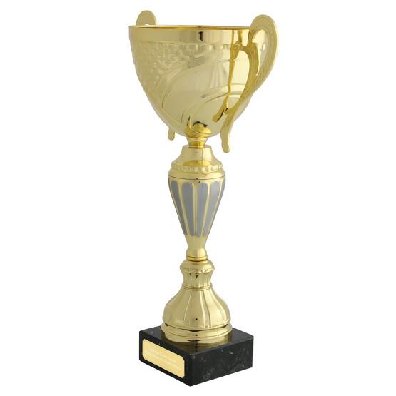 Pokal LENS gold Trophäe Pokalset mit Gravurplatte und Gravur