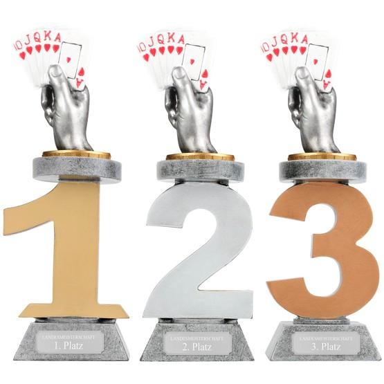Pokal Skat Karten Serie VILLON Skatpokal Trophäe Poker mit Gravur