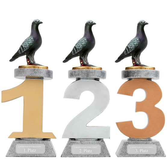 Pokal Tauben Zuchttauben Serie VILLON Trophäe 3 Größen mit Gravur