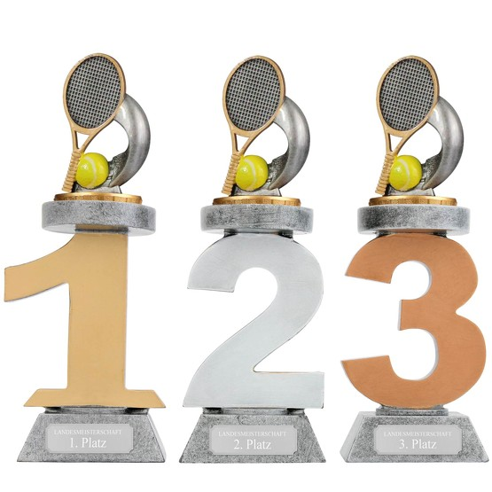 Pokal Tennis Serie VILLON Trophäe 3 Größen mit Gravur
