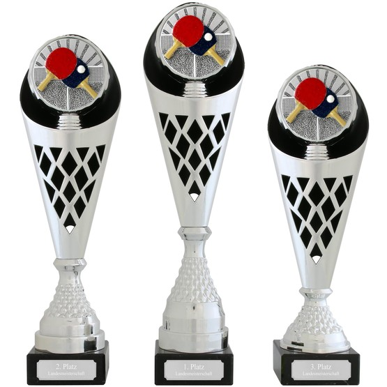 Pokal Tischtennis Serie VERDUN Trophäe silber groß mit Gravur