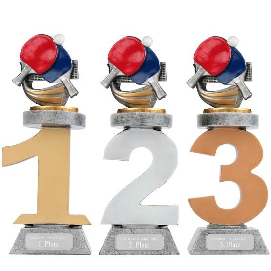 Pokal Tischtennis Serie VILLON Trophäe 3 Größen mit Gravur