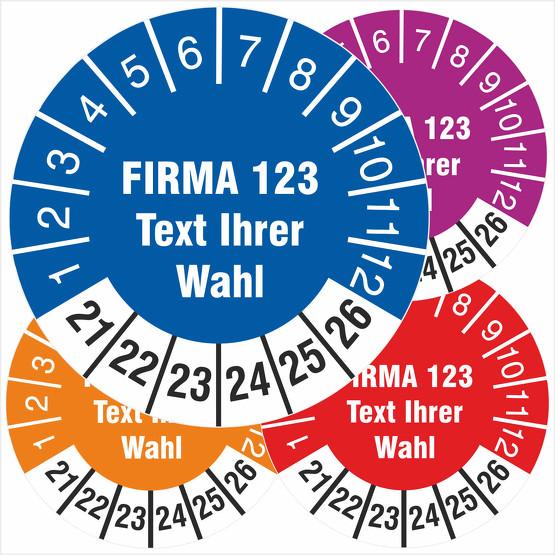 Prüfetiketten individuell mit Ihrem Druck Firmeneindruck 2021-2026