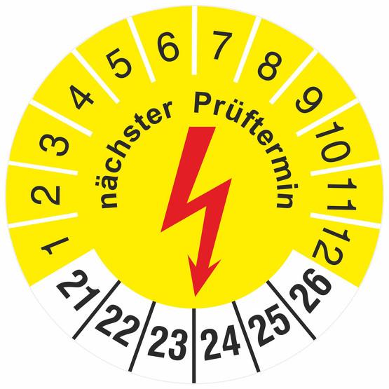 Prüfetiketten nächster Prüftermin Elektro Prüfung Elektrotechnik 2021-2026