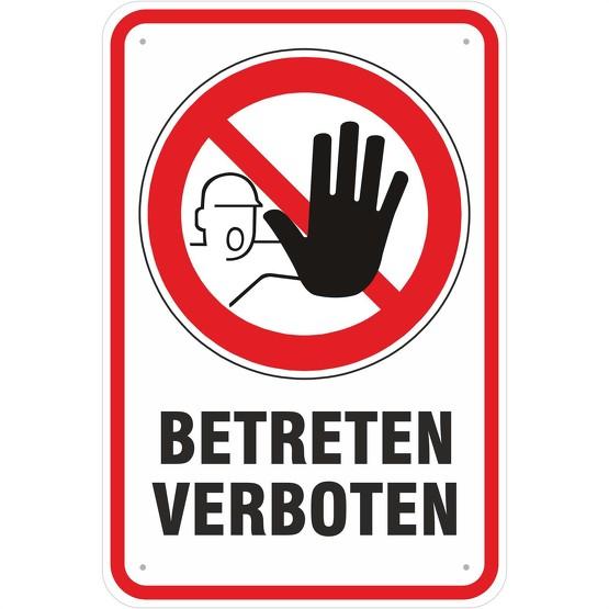 Schild Hinweisschild Betreten verboten mit Symbol 3 mm Aluverbund