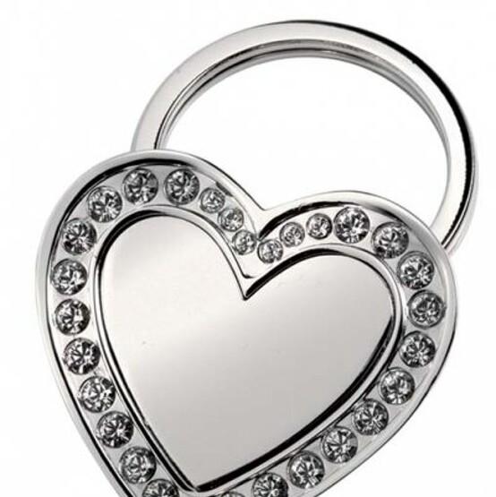 Schlüsselanhänger FORIA Herz Kristalle groß massiv mit Gravur Namen