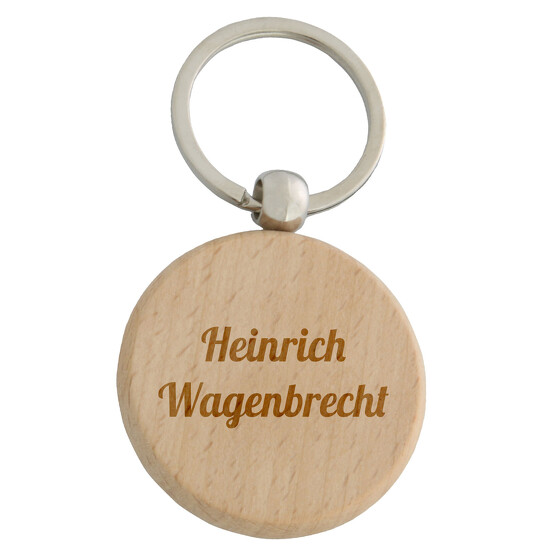Schlüsselanhänger MILLE rund Holz Anhänger mit Gravur Logo Text