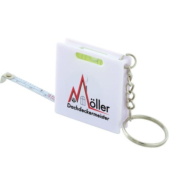 Schlüsselanhänger Rollbandmaß RIZO 1 m mit Wasserwaage und Druck Logo