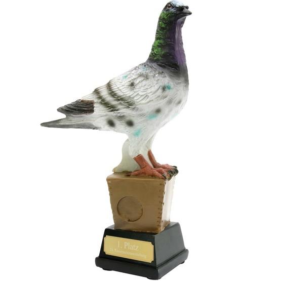 Trophäe Pokal Taube Zuchttauben 19 cm hoch mit Gravur