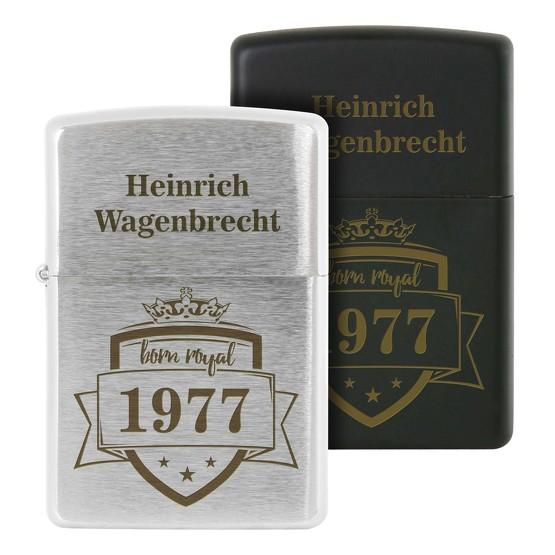 Zippo mit Gravur Namen und Jahrgang personalisiert silber oder schwarz